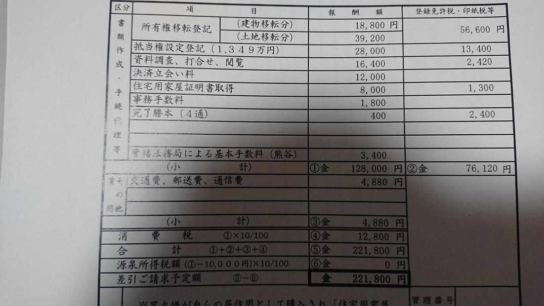 中古住宅登記費用の実際の見積もり書